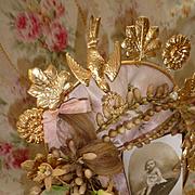 Delicious antique French ormolu pink silk wedding display cushion : wax crown : locks hair : r