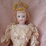 Adorable old gilt metal wedding crown and bouquet : floral foliage motifs : fashion doll size