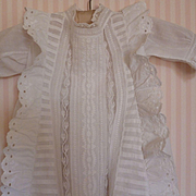 Pretty French hand made white baby Christening gown : lace : embroidery : circa 1900