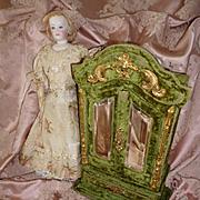 Rare 19th C. French green velvet vanity : perfume bottle cabinet : doll accessory armoire