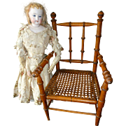 Splendid French doll's wooden hand caned  chair : armchair : 1900's : perfect fashion doll ...