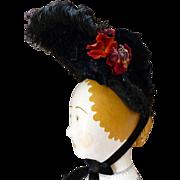 Tres chic antique French black ladies bonnet : hat: millinery bouquet : sequins : beads tulle
