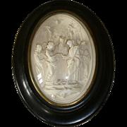 Decorative 19th C. French framed wedding ceremony plaque : angels : cherubs : Saint Esprit