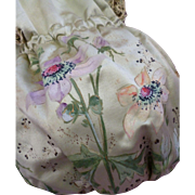 Unusual French hand painted silk confectioners bag : Maison Boissier, Paris : Anemone motifs :