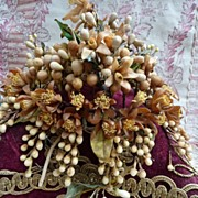 SALE PENDING Delicious antique French  wedding display cushion wax crown hands