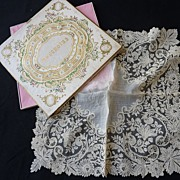SOLD Exquisite antique gossamer Brussels point de gaze lace handkerchief