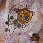 """SALE PENDING Darling antique French ormolu and glass vanity stand & """"porte montre"""""""