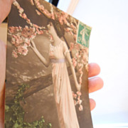 1915 Edwardian lady in Peach Pink Blossoms Algeria French postcard