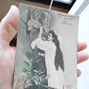 1903 Religious French Postcard Lady at the Cross