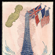 SALE Vintage 3-D Silver Eiffel Tower postcard Tribute to WWII Allies
