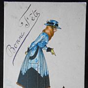 Art Deco ITALIAN postcard Artist Signed Pinochi Woman in Blue with Dog