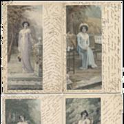4 antique MM Vienne Illustration Postcards Romantic Women FRENCH SCRIPT