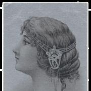 Art Nouveau Illustration Hair Jewelry Silver Antique French Postcard