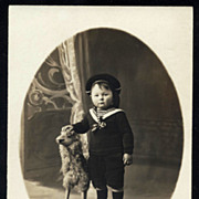 SOLD Edwardian Boy in Sailor Suit with SHEEP Real Photo Postcard