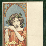 Art Nouveau Lady with Flute Olibet Biscuit French Advertising Postcard