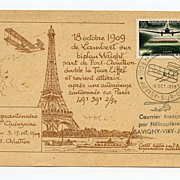 SOLD 1959 Postcard honoring Count Lambert's 1909 flight around Eiffel Tower