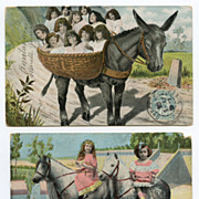 HORSES Mule Toddlers 2 Antique Collage Montage Postcards