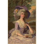 SOLD 18th Century Glamour Lady in Purple Lace German Meissner &Buch UNUSED
