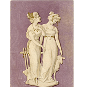 SOLD Art Nouveau Two Ladies with Lamb Gold Overprint Antique Postcard - Red Tag Sale Item