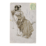 Silver embossed Art Nouveau Lady Antique French postcard