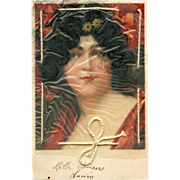 Real hair antique novelty French postcard Black Haired Beauty in Red