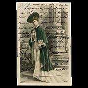 Reutlinger Glamour Postcard Real Photo of Actress in Green Velvet Cape