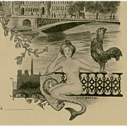 Paris City Hall with Mermaid and Rooster Circa 1903 Postcard artist signed Orlow