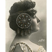 SALE Antique Glamour Postcard French Actress with Art Nouveau Hair Jewelry