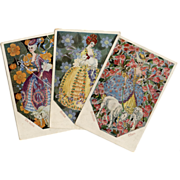 3 Illustrated German Easter Postcards Floral Backgrounds Women with Sheep