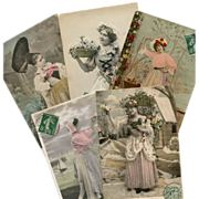 Bon Marche Lot of 5 Antique Postcards for Scrapbooking: Country Women