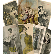 Bon Marche Lot of 7 Antique Postcards for Crafts: Country Folk