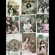 Bon Marche Lot of 9 Antique Postcards of Edwardian Girls