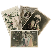 Bon Marche Lot of 4 Antique French  Edwardian Christmas and New Year Postcards