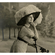 Edwardian Woman with Umbrella in Chic Parisian Jupe Culotte Fashion