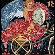 Angel in Deer-Pulled Cart by Julius Diez Antique German postcard honoring Bavarian Prince