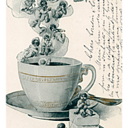Multiple babies in a Steaming Cup of Coffee German Postcard from 1903
