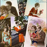 Bon Marche Lot of 12 Orange Themed Art Deco Fashion Postcards from France
