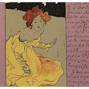Rare Raphael Kirchner Postcard from 1902 of Woman in Yellow