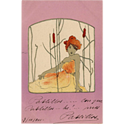 SALE Red Headed Lady in Yellow Among Cattails Rare Raphael Kirchner