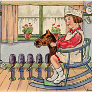 Girl on Rocking Horse Chromolithograph Postcard Artist Signed Suzanne Cocq 1916