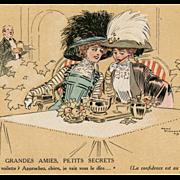 French Face Cream Powder Advertisement Artist Signed 1909 Secretive Edwardian Women Gossiping