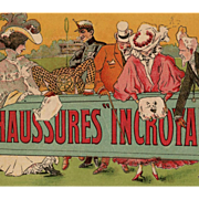 French Lithograph Advertising Postcard for Shoes Chaussures Incroyable by Albert Matignon