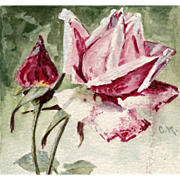 SALE Catherina Klein Hand-Painted Red Pink Rose Postcard 1905 to Vienna