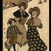 Artist Signed Ethel Parkinson Trio in Winter Scene Antique Vienne Postcard