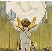 Cocoa Advertisement French Honeymoon Postcard Cupid with Huge Moon, Clock, Candle and Shoes