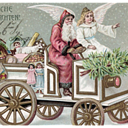 1905 German Postcard of Santa and Angel in Car with Gifts