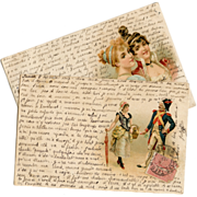 SOLD Two Antique Illustrated Postcards with Beaucoup French Script