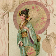SOLD Art Nouveau European Postcard Japanese Lady with Umbrella with Gold Detailing