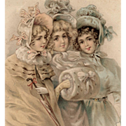 SALE Antique French Postcard of Victorian Trio of Girls with Art Nouveau Ribbon Border