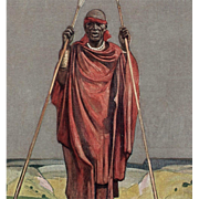 SALE 1931 Paris Colonial Exhibition Red Cross Artist Signed Postcard of Congo Chief